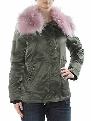 GUESS $158 Womens New 1359 Green Faux-fur-collar Jacket XS B+B