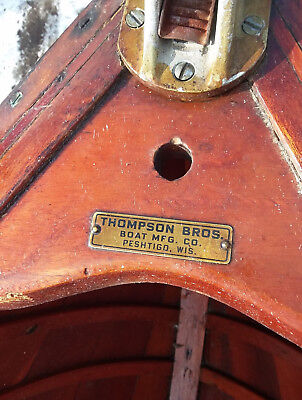 Antique Vintage Thompson Wooden Boat - With Motor