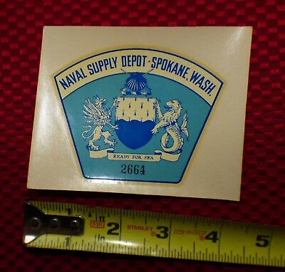 WW2 VINTAGE NAVAL SUPPLY DEPOT Spokane Washington car window decal original