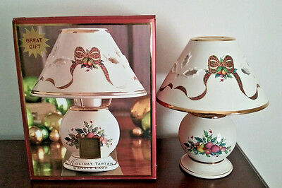 Lenox HOLIDAY TARTAN CANDLE LAMP With Pierced Shade ~ New In Box
