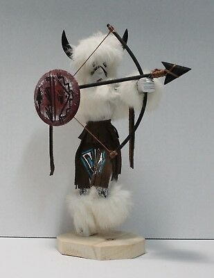 Navajo Buffalo Warrior Kachina large Brown Signed By The Artist