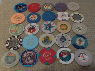 LOT OF 25 MIXED DENOMINATION CASINO hotel gaming chips ~Various Locations (#1A)