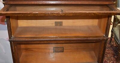 Antique Globe Wernicke Tiger Oak Stacking Barrister Bookcase Shelf