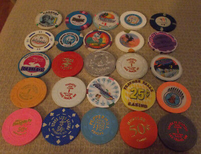 LOT OF 25 MIXED DENOMINATION CASINO hotel gaming chips ~Various Locations (#2A)
