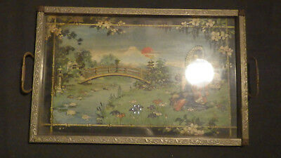 Vintage possibly close to antique International Tray CO Geisha and japanese land