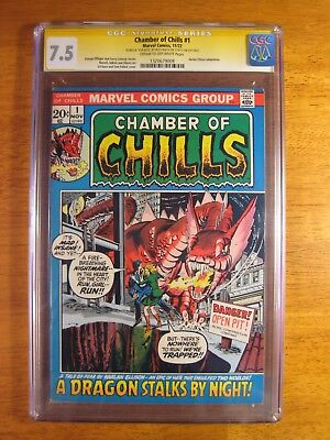 CHAMBER OF CHILLS #1 (1972) CGC SS 7.5 (c/o-w) **5th pg Signed by Russ Heath!**