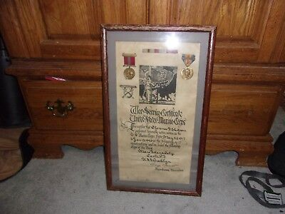 ww1 US marine Corps medal group and document , framed