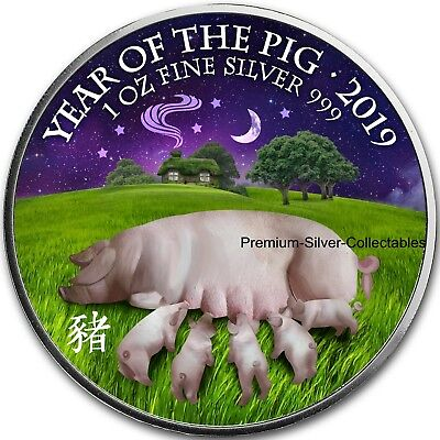 2019 Great Britain Year of the Pig - 1 Ounce Pure Silver Colorized coin !!!