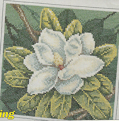 Magnolia Blossom Flower Counted Cross Stitch Pattern chart from a magazine