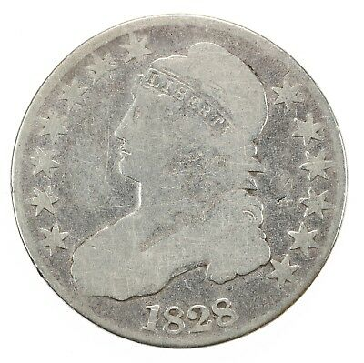 Raw 1828 Capped Bust 50C Square Base 2 , Small 8 Circulated Silver Half Dollar