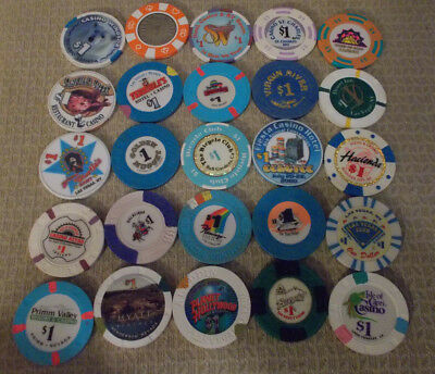 LOT OF 25 MIXED $1.00 CASINO hotel gaming chips ~Various Locations (#7A)