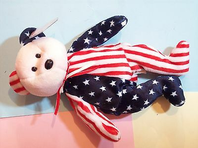 Beanie Baby Bear Spangle Very Pale Red Face Red White Blue Stars Stripes  1999 T