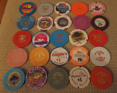 LOT OF 25 MIXED DENOMINATION CASINO hotel gaming chips ~Various Locations (#10A)
