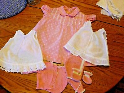 Lot Vintage 1950's Baby/Doll Clothes Dress, Slips, Sweater Set