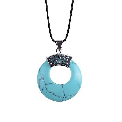 ZHEPIN Crescent Moon Leather Rope Lucky Gemstone Pendant Chain Stone Necklace