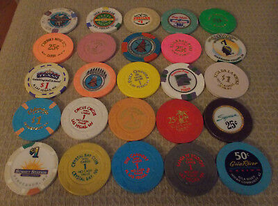 LOT OF 25 MIXED DENOMINATION CASINO hotel gaming chips ~Various Locations (#11A)