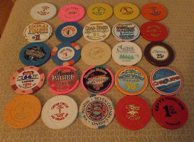 LOT OF 25 MIXED DENOMINATION CASINO hotel gaming chips ~Various Locations (#12A)