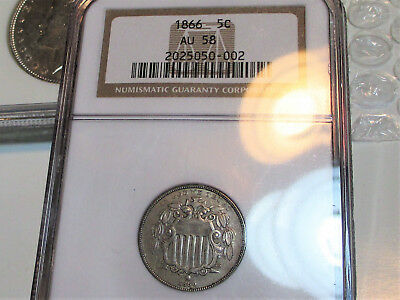 1866 SHIELD NICKEL 5c RAYS NGC AU58 STRIKE DOUBLING RARE US COIN.