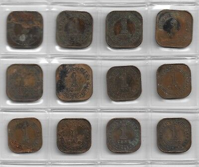 Collection of Malaya board of currency 1 Cent coins