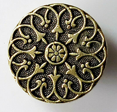 Antique~ Vtg Metal Button Solid Brass French Victorian Ornate BKMK  L@@K# 220