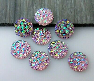 12mm Purple Cabochons 10pc - Sparkly Faceted Resin Flat Back for Bezel FBC110
