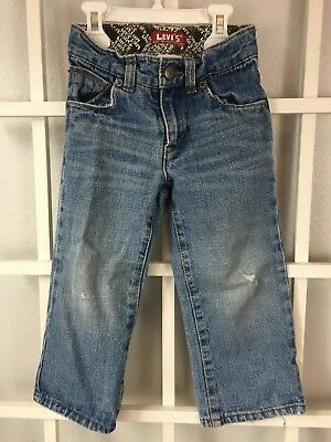 Levi's Boys Blue Denim Jeans Size 3T 100% Cotton Adjustable Waist