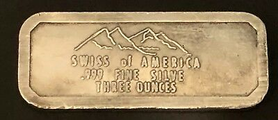 Swiss of America Draper Mint 3oz **Rare Error Variety** 999 Silver Old Pour Bar