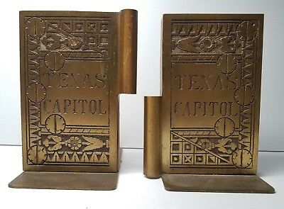 Vintage c1960s Brass & Wood Texas State Capitol Door Hinge Library Bookends Pair