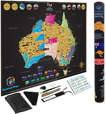 Large Premium Scratch Off Map Of Australia Poster Deluxe Adventure Travel by 82