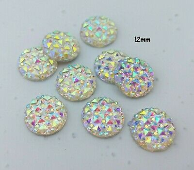 10pc AB White 12mm Cabochons - Flat Back Sparkly Faceted Resin Cabochon C142