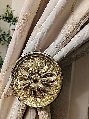 Vintage Antiqued Brass Floral Medallion Curtain Drapery Tie Backs Set of 4