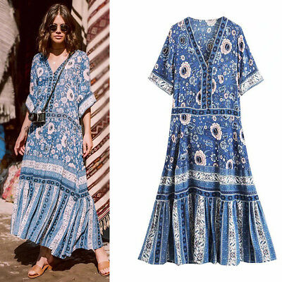 6d50c5405a HIPPIE MEXICAN ETHNIC Boho Women's Embroidered Pessant Flower Beach ...