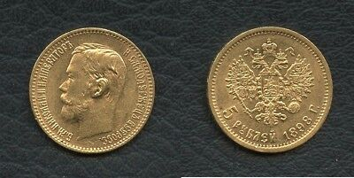 Stunning 1898 5 Roubles Russian Gold Coin Nicholas II Russia St Petersburg Mint