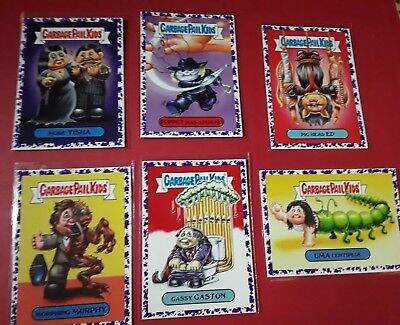2018 * LOT OF 6 * Garbage Pail Kids Oh The Horror-ibble PURPLE PARALLEL LOT GPK