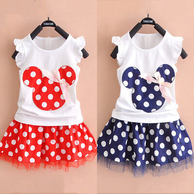 Cotton Kids Baby Girl Minnie Princess Party Dress T shirt Top+Tutu Skirt Outfits