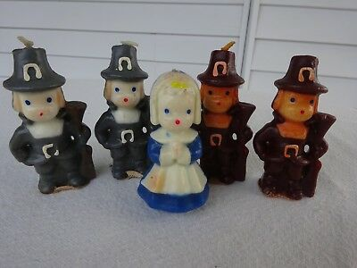 5 Vintage Candles Gurley Thanksgiving Pilgrim Boys And Girls Never Lit Unused