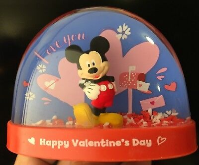 Disney Mickey Mouse Snow Water Globe LOVE YOU Happy Valentine 's Day*