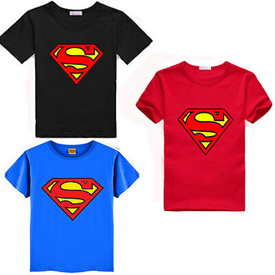 Summer Kids Baby Boys Superman T-Shirt Children Short Sleeve Tees Costume Tops W