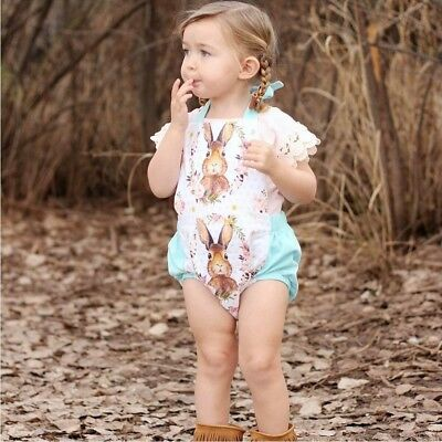 Toddler Newborn Baby Girls Rabbit Bunny Easter Romper Jumpsuit Outfits Bodysuits