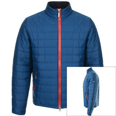 $250 NWT Barbour Petrol BLUE w/Red Zipper men's MEDIUM Nylon Poly quilted jacket