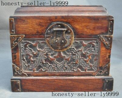 """9""""old Chinese Boxwood wood master hand carved pattern jewelry box case boxs"""