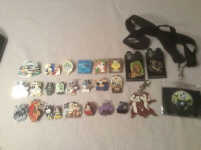 Lot of 25 Assorted Walt Disney Trading Pins with backs and 10 extra backs