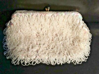 1980's WHITE BEADED FRINGE & SEQUIN CLUTCH W/GOLD TUCK-IN STRAP