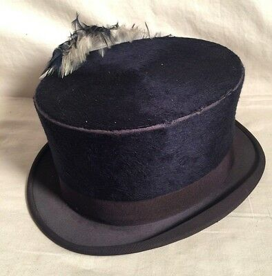 Vintage Antique MEYER Kentucky BLUE Felt top hat + Flower PLUME 1800s 1900s