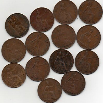 Pennies lot x 14  KG  c1920s decade ungraded coins circulated  ref:J28