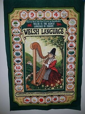 Cotton Tea Towel Feat. Welsh Language Made Britain Design By Clive Mayor 29x20