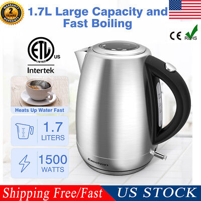 1.7L Electric Kettle 1500W Hot Water Tea Cafe Boiler Stainless Steel Auto-Off US