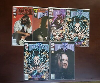Chaos Comics WWF Mankind 1  Undertaker Issue 0 1 (2 copies) and 2 Preview book 1