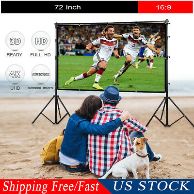 "Portable 72"" inch 16:9 HD Matte Projector Projection Screen Home Theater Outdoor"