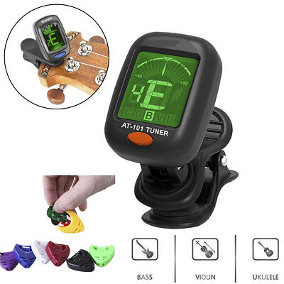 LCD Electronic Clip-on Digital Guitar Tuner Ukulele Colorful Violin Pickers